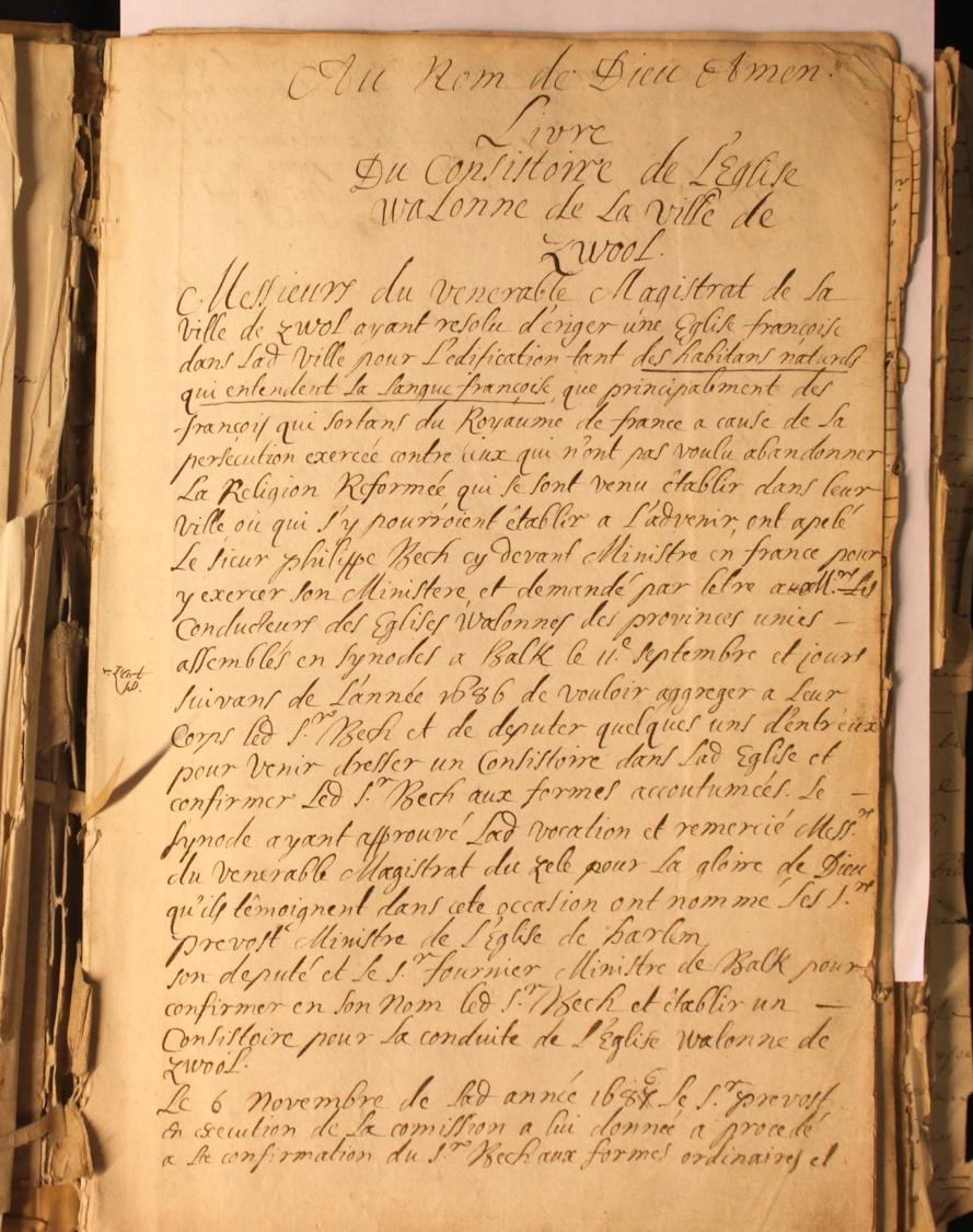 HCO Zwolle Resolutieboek 1686: Besluit tot oprichting van de Waalse kerk Zwolle.